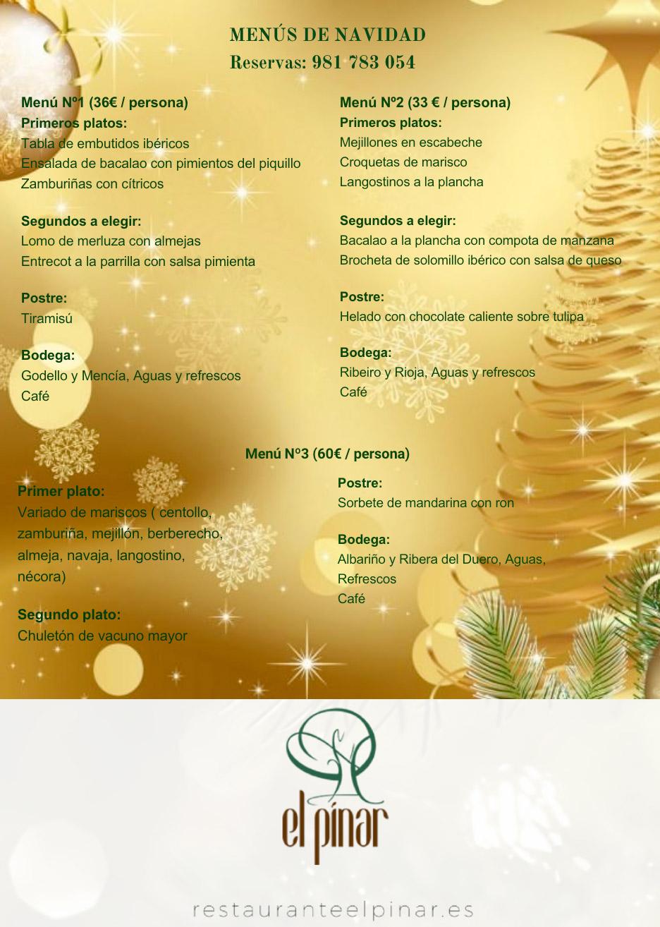 Carta de Navidad Restaurante El Pinar